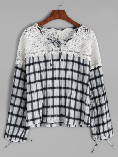 Gingham Plaid Contrast Crochet Bow Tie Blouse