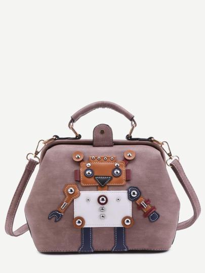 Pink Mauve PU Robot Patch Studded Shoulder Bag With Handle