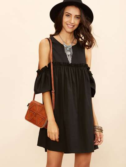Black Cold Shoulder Frill Babydoll Dress