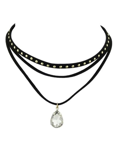 Black Pu Leather Choker Necklace