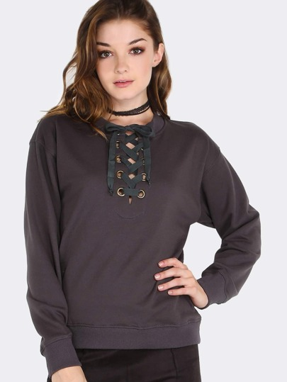 Eyelet Tie Sweater Top CHARCOAL