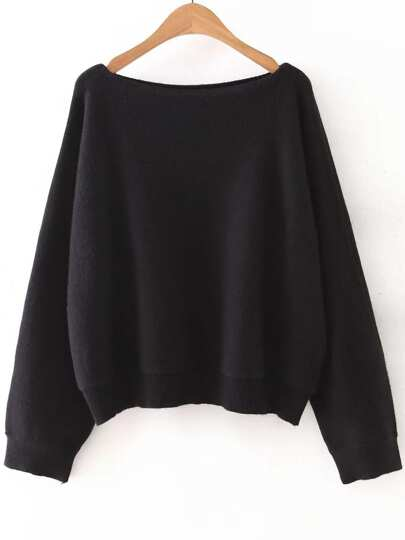 Black Boat Neck Ribbed Trim Sweater