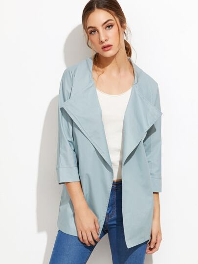 Blue Raglan Sleeve Trench Coat