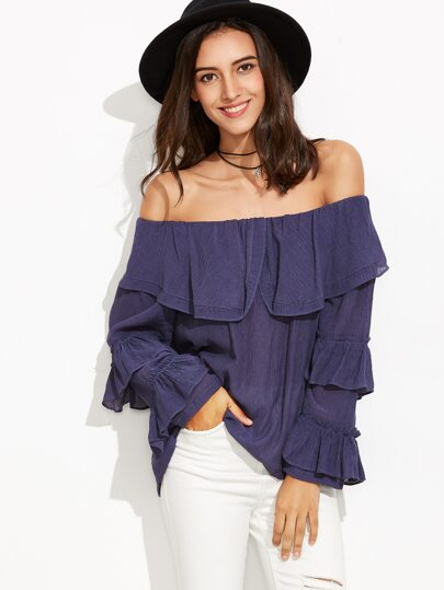 Navy Off The Shoulder Ruffle Trim Top