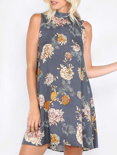 Floral High Neck Sleeveless Dress NAVY