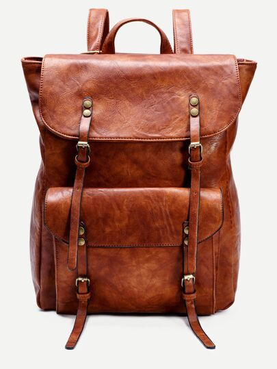 Khaki PU Flap Pocket Backpack