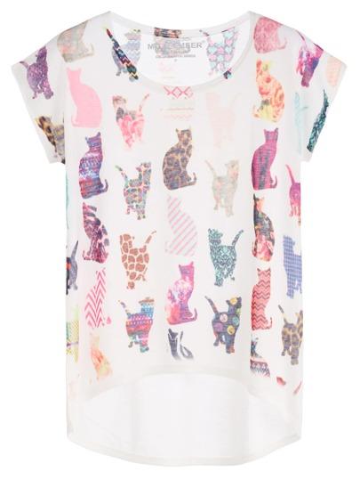 White Cats Print Dip Hem Dolman Sleeve T-shirt
