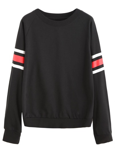 Black Raglan Sleeve Striped Trim Sweatshirt