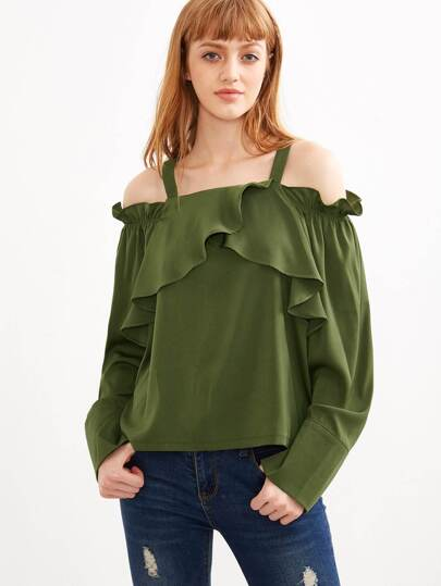 Olive Green Cold Shoulder Ruffle Top