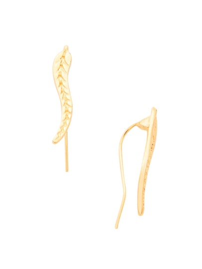 Gold Etched Leaf Ear Pins