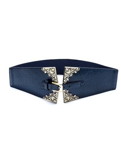 Navy Faux Leather Buckle Geometric Wide Belt