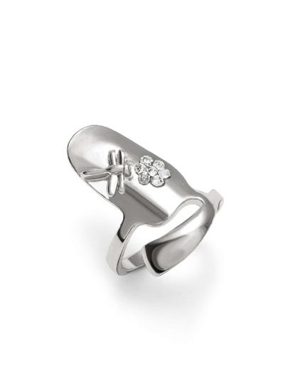 Silver Plated Rhinestone Nail Ring