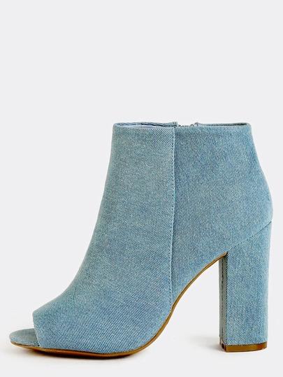 Peep Toe Denim Chunky Heel Boots BLUE DENIM