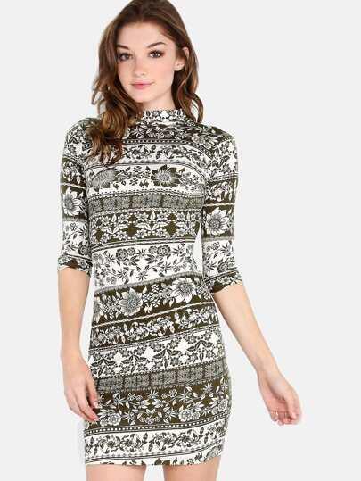 Multi Floral Print Mock Neck Backles Dress OLIVE