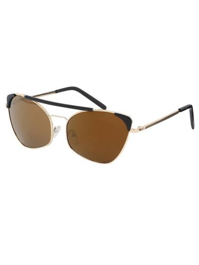 Metal Frame Double Bridge Brown Cat Eye Sunglasses
