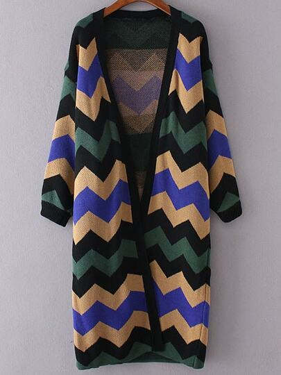 Wave Pattern Collarless Long Cardigan