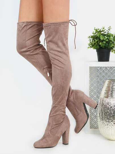 Tie Back Thigh High Suede Boots TAUPE