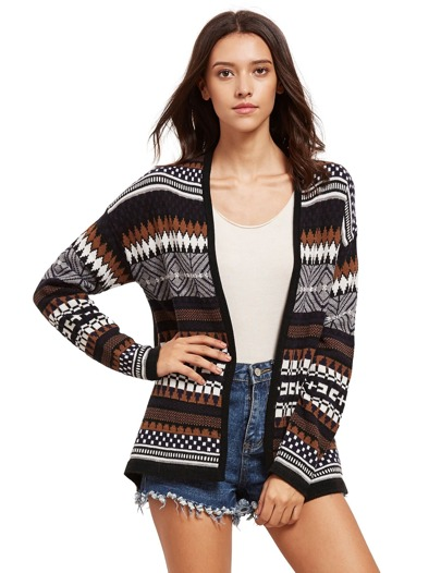 Black Geometric Pattern Sweater Cardigan