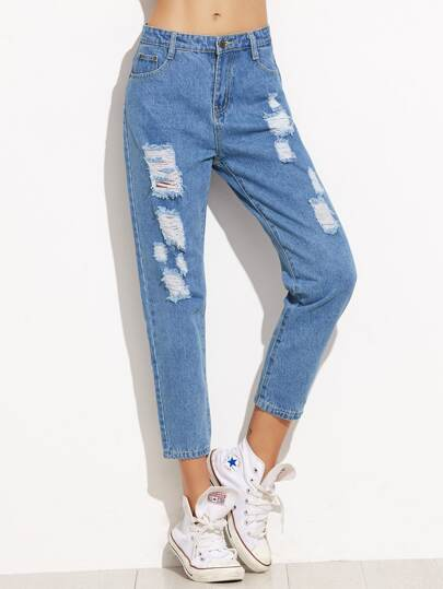 Denim Hose mit Tasche - blau