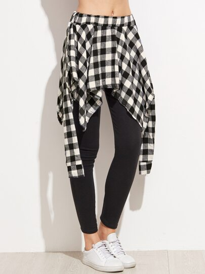 Black Leggings With Contrast Plaid Panel