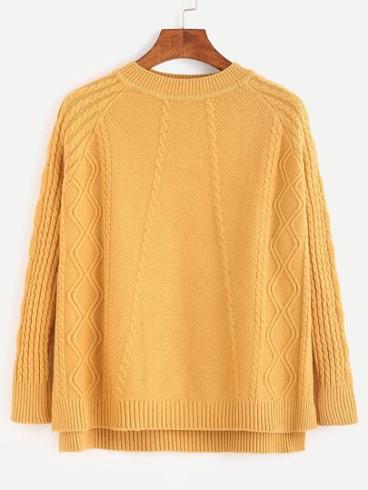Yellow Slit Side High Low Cable Knit Sweater