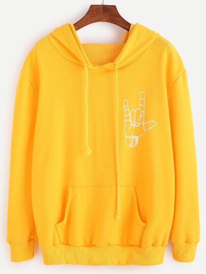 Yellow Love Gesture Print Hooded Sweatshirt