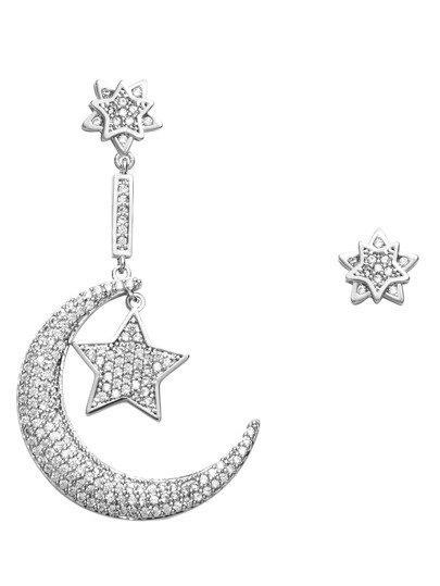 Rhinestone Encrusted Moon Star Asymmetrical Earrings