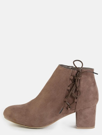 Side Lace Up Ankle Boots TAUPE