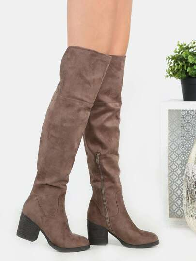 Faux Suede Chunky Heel Tall Boots TAUPE