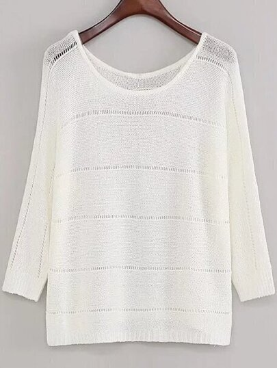 White Long Sleeve Hollow Out Knitwear
