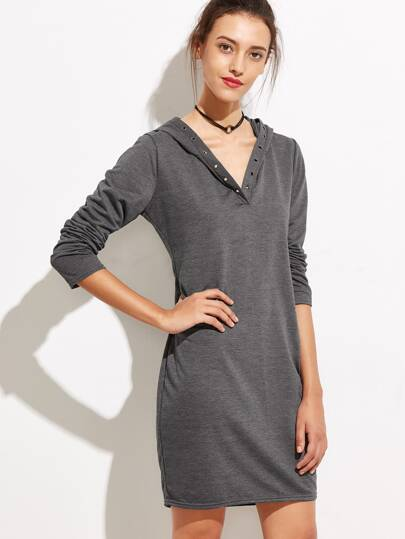 Dark Grey Hooded Metal Eyelet Dress