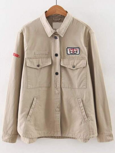 Khaki Letter Embroidery Dip Hem Coat With Pockets