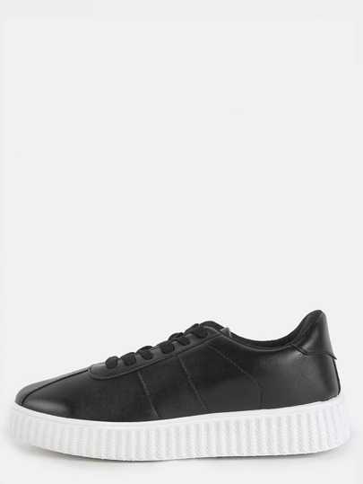 Textured Sole Platform Sneakers BLACK