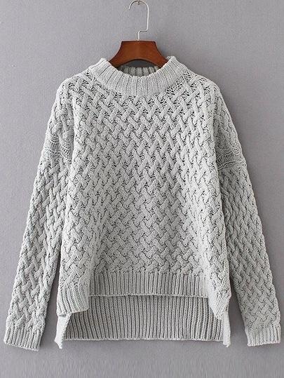 Grey Crew Neck High Low Loose Sweater