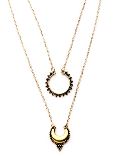 Antique Gold Double Layer Moon Design Pendant Necklace