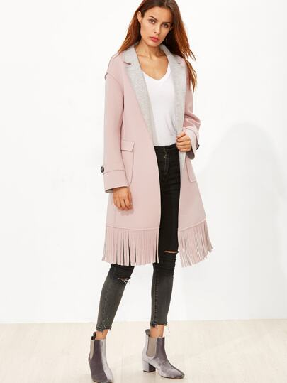 Pink Double Face Drop Shoulder Fringe Coat