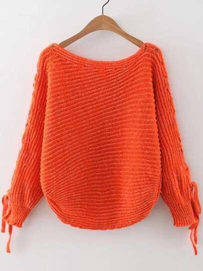 Orange Ribbed Lace Up Sleeve Loose Sweater