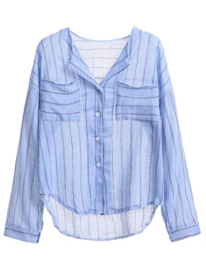 Blue Striped Dip Hem Blouse With Pockets