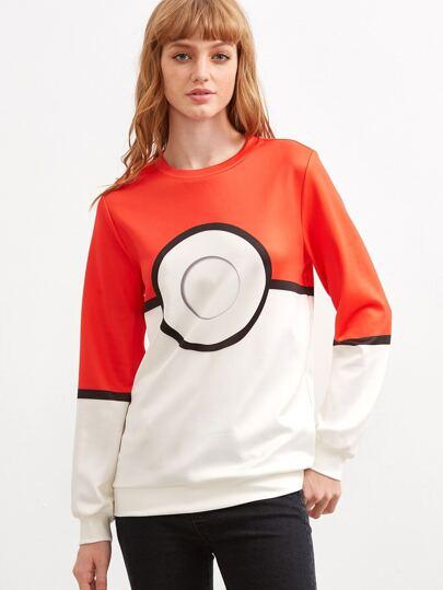 Color Block Pattern Print Sweatshirt
