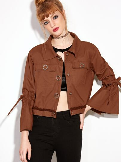 Brown Bell Sleeve Bow Tie Crop Coat