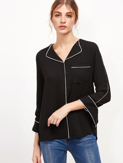 Dip Hem Split Pocket Blouse
