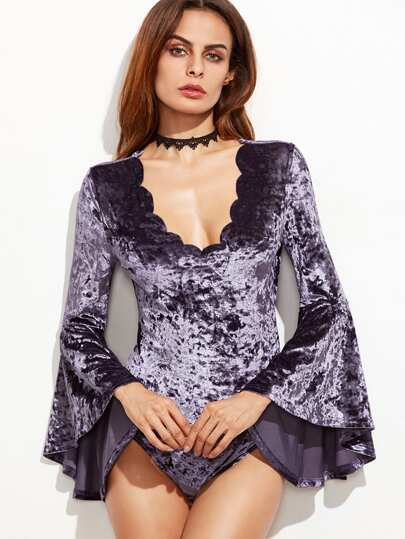 Purple Bell Sleeve Scallop V Neck Velvet Bodysuit