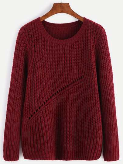 Burgundy Ribbed Knit Eyelet Panel Sweater