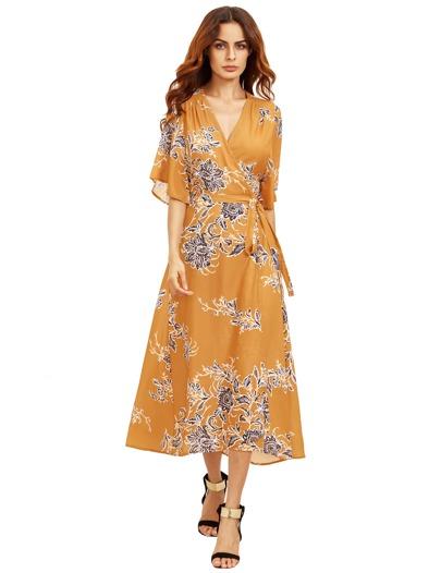 Vestido de cuello en V con estampado floral
