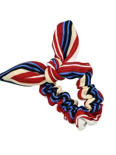 Redwhite Printed Bowknot Shape Hair Band For Women