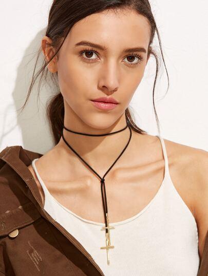 Black Cross Pendant Wrap Choker Necklace