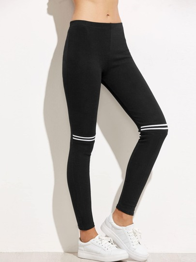 Black Striped Trim Leggings