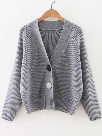 Grey Raglan Sleeve Button Up Sweater Coat