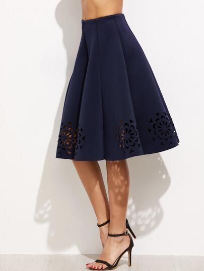 Navy Laser Cut Out Pleated Skirt
