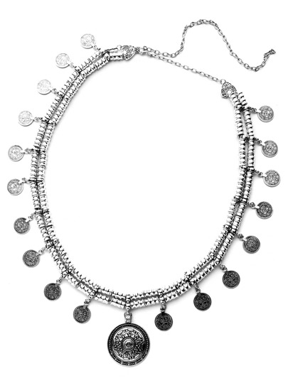 Antique Silver Coin Fringe Waist Chain